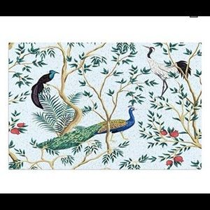Nwt peacock toile pattern rug
